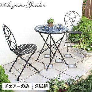イス チェア 椅子 屋外 家具 ファニチャー スチール 折りたたみ 黒 ガーデン タカショー / エルダ チェアー 2脚組 /B