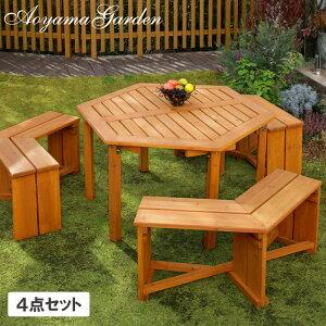 テーブル イス セット 机 椅子 チェア 屋外 家具 天然 木 六角形 ガーデン タカショー / ウッディーガーデン 六角テーブル&ベンチセット /E