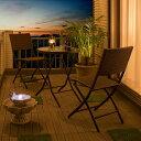 テーブルセット 折り畳み/イーズモダンラタンチェアー×ガラステーブル3点セット/IGF-10T10CB/3S/庭 ガーデン