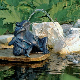 噴水 池 ファウンテン オブジェ 人形 カエル 水音 庭 ガーデン タカショー / ウォーターデコ カップルフロッグ /A