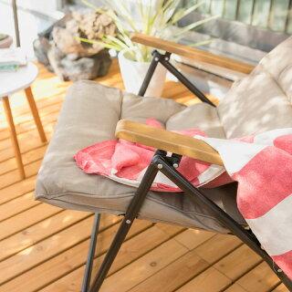 ガーデンチェアースチール製/キャリーリクライニングシングルローソファ/IGF-09C/ソファー/セット/折りたたみ/おしゃれ/庭/椅子/梱包サイズ中