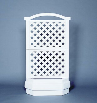 Planter with trellis planter boxes made in Canada two-stage [White] with plastic lattice, and Rod