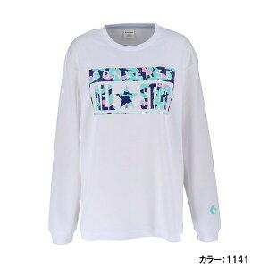 【ゆうパケットOK】コンバース(CONVERSE) ウイメンズプリントロングスリーブシャツ シャツ レディース (20ss) ホワイト/ミント 吸汗速乾 cb392306l-1141