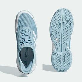 アディダス(Adidas) テニスシューズ ADIZEROCLUB K ジュニア (19ss) アッシュグレー×ホワイト CG6450【P8T】【P50904】