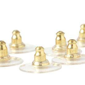 [40個] サージカルステンレス 下向き防止 ピアスキャッチ シリコン ゴールド金 アクセサリー パーツ 金具 金属アレルギー対応