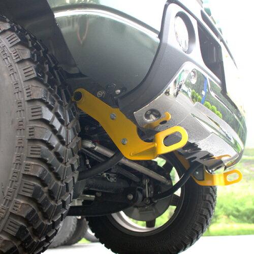 ジムニーJB23純正バンパー用フロント牽引フック(完全穴空け不要タイプ)(限定車装着アンダーガーニッシュ対応仕様)牽引フック・フロント用(けん引フック)
