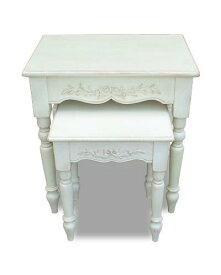 ネストテーブル(2個セット)(アンティーク風ホワイト家具) カントリーコーナー 白家具 シャビーシック フランス エレガント オリーブ インテリア ブランド お洒落 可愛い 輸入家具