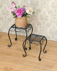 花台にも使えるアイアンネストテーブル(2個セット) サイドテーブル ブラック 玄関 飾り台 便利 フラワースタンド インテリア デザイン お洒落 輸入