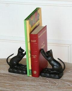 アンティーク調仕上げの可愛いネコのブックエンド。書斎 インテリア 飾り 置物 本立て 仕切り 輸入 クラシック お洒落