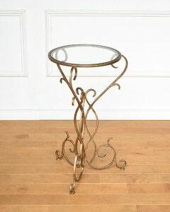 曲線を描いたゴールドの脚がおしゃれなテーブル(アイアン) サイドテーブル 丸型 お洒落 モダン アンティーク調 飾り 輸入 インテリア ラウンド ガラス