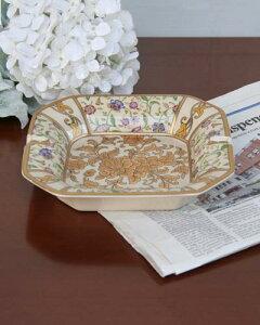陶器の灰皿(花/ゴールド) エレガント 輸入 花模様 クラシック インテリア お洒落 来客用 高級 デザイン アンティーク風 海外 ゴージャス