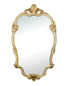 装飾が綺麗な大きめサイズの壁掛けミラー(ゴールド) イタリア製 ヨーロピアン ロココ調 樹脂 ウォール 鏡 インテリア デコラティブ クラシカル 輸入