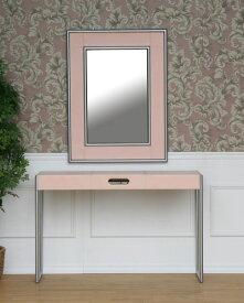 ドレッサーにも使える革張りピンクが可愛いコンソールミラー(イタリア) モダン 玄関 リビング 飾り台 テーブル お洒落 可愛い デスク インテリア 輸入 海外 鏡付