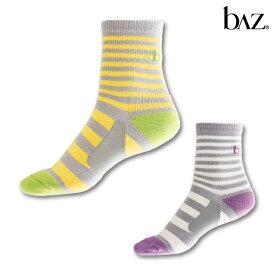 NAWA b∧z(バズ) 着圧ボーダーソックス(足底サポート付) レディース ソックス フィットネス ヨガ ダンス ランニング ファッション 23〜25 イエロー/ホワイト