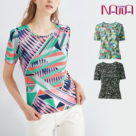 NAWA(ナワ) FD.ギャザートップス レディース 健康体操 ウォーキング ファッション M/L/LL ブラック/キャロット/エメラルド