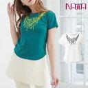 NAWA(ナワ) チビT半袖(ネックレス柄) レディース 健康体操 ファッション M/L/LL グリーン/ホワイト