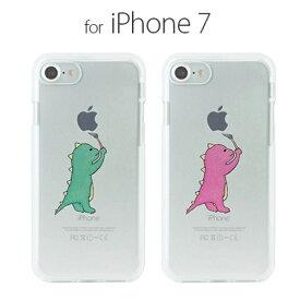 メール便送料無料 スマホケース iPhone8 iPhone7 ケース Dparks ソフトクリアケース お絵かきザウルス(ディーパークス)アイフォン カバー 恐竜