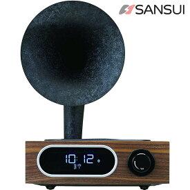 SANSUI MSR-5 サンスイ Bluetooth ラジオスピーカー AM FM ラジオ 10W アサガオホーン 朝顔 スピーカー ウーファー タイマー スヌーズ 昭和 レトロ 木目調 インスタ映え (R)