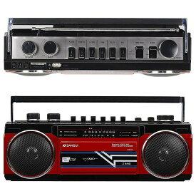 SANSUI サンスイ SCR-B2 レッド RD カセットテープレコーダー レトロデザイン Bluetooth MP3 対応 ラジカセ(R)
