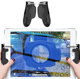 CoDモバイル PUBG モバイル 荒野行動コントローラー 軽く反応(タブレット用 iPad用 ) ゲームコントローラー 感度高く 高速射撃 Android 押しボタン&グリップのセット 一体式 手触り改良 調整可能 【レターパックプラス送料無料】