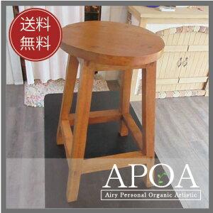 木製丸イス/チーク(茶色)・トールサイズバリ家具にアンティーク風の木製丸椅子が日本上陸!かわいい少し高さのある椅子です。≪インテリア/雑貨/家具/台/踏み台/木製スツール/丸椅子/