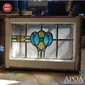 アンティークステンドグラスブルー系≪035≫アンティーク雑貨イギリス製ガラスブロカントインテリア
