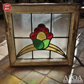アンティーク ステンドグラス ≪045≫ 赤い花レア物 マニア 赤 緑 黄色 お花 イギリス製ガラス ブロカント インテリア