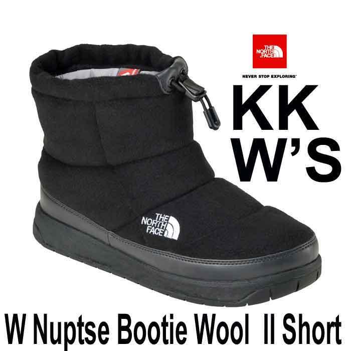 ザ ノースフェイス 正規店、直営店はウールII 2017-18年最新モデル 24CM ヌプシブーティーウール II ショート (レディース) KK ブラック The North Face W Nuptse Bootie Wool II Short NFW51787 (KK)TNFブラック×ブラック