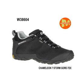 メレル ウィメンズ カメレオン 7 ストームゴアテックス W38604 BLACK/BLACK Merrell CHAMELEON 7 STORM GORE-TEX レディース アウトドア ゴアテックス スニーカー 幅2E相当