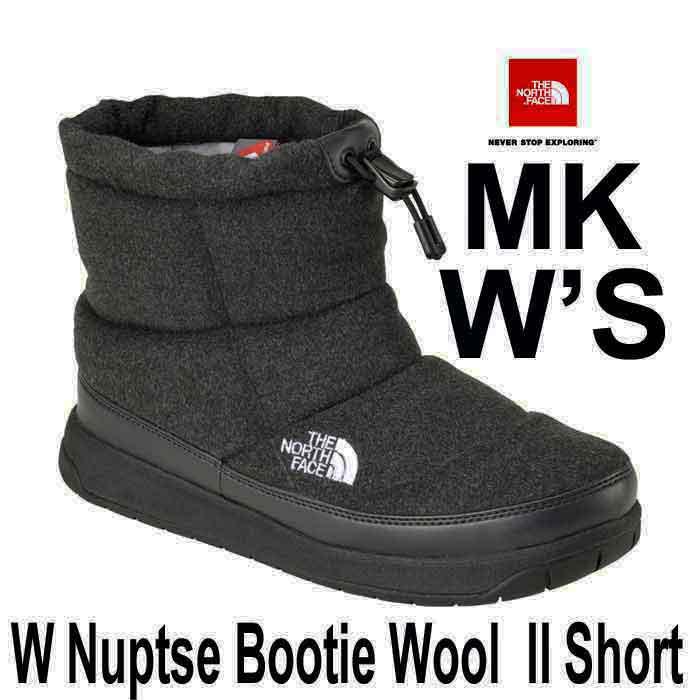 ザ ノースフェイス 正規店、直営店はウールII 2017-18年最新モデル 24CM ヌプシブーティーウール II ショート (レディース) MK)ミックスグレー×ブラック The North Face W Nuptse Bootie Wool II Short NFW51787 (MK)ミックスグレー×ブラック