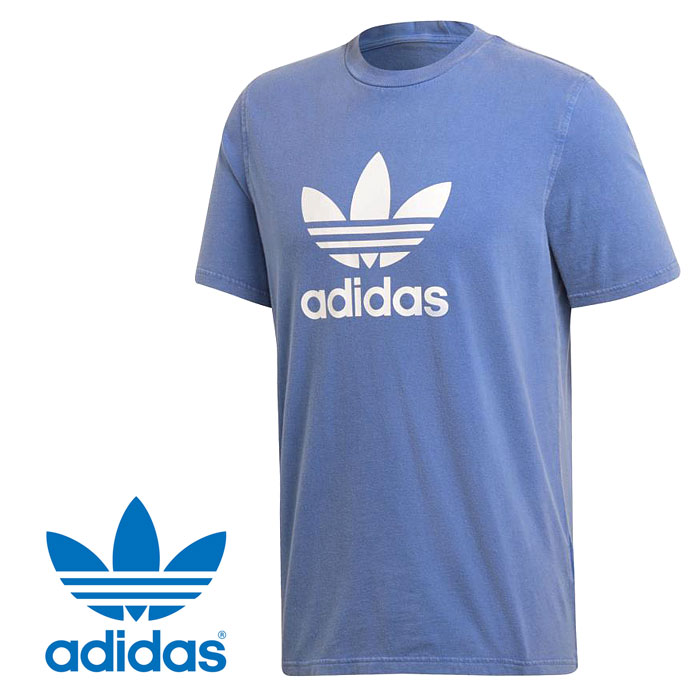 アディダス オリジナルス トレフォイル Tシャツ アディカラー メンズ クルーネック ビッグロゴ 半袖 ショートスリーブ ブルー ホワイト adidas Originals TREFOIL TEE adicolor EKF75 CW0703