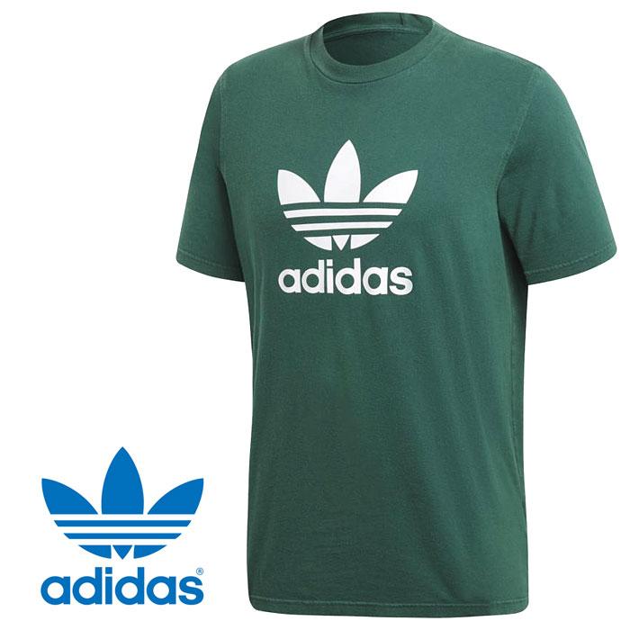 アディダス オリジナルス トレフォイル Tシャツ アディカラー メンズ クルーネック ビッグロゴ 半袖 ショートスリーブ グリーン ホワイト adidas Originals TREFOIL TEE adicolor EKF75 CW0705