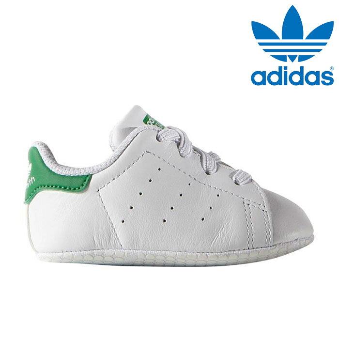 送料無料 アディダス adidas オリジナルス スタンスミス クリブ スニーカー ベビー 靴 シューズ ファーストシューズ 赤ちゃん お祝い ギフト ホワイト グリーン 白 緑 Originals STAN SMITH CRIB B24101 トレフォイル