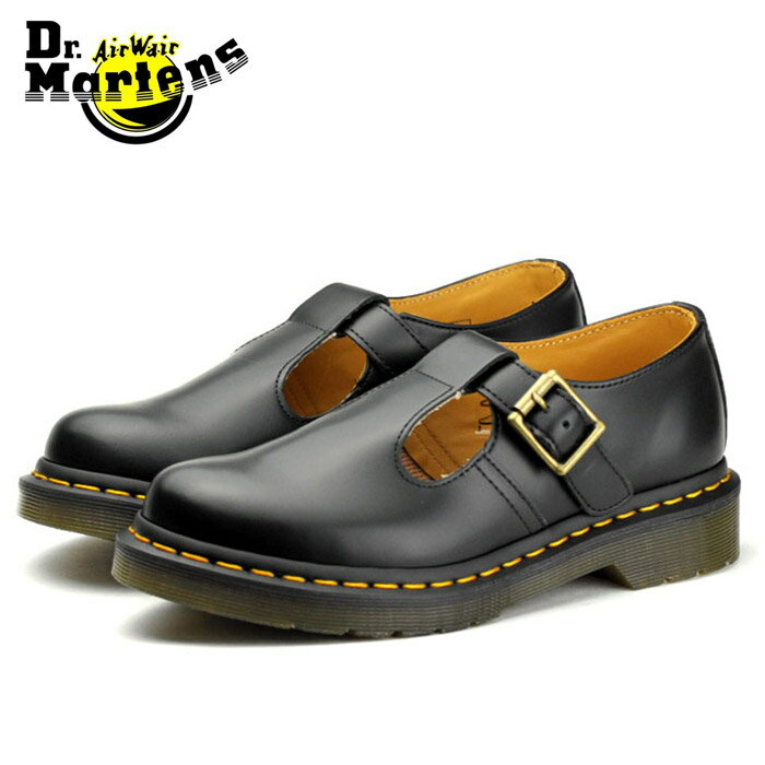送料無料 ドクターマーチン ポリー ポーリー ブラック ストラップ ブーツ ローカット 靴 女性用 レディース 靴 黒 ブラック Dr.Martens CORE POLLEY BLACK 14852001 メリージェーン