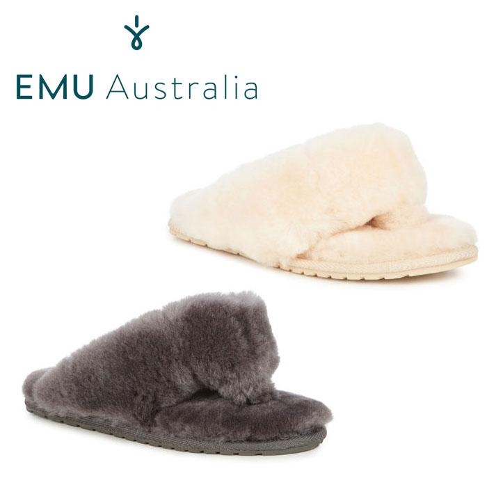 送料無料 エミュー EMU TOVA トヴァ ムートンサンダル シープスキン ムートン ルームシューズ スリッパ グレー 灰 ホワイト 白 女性 レディース W10105 靴 暖かい あったか 防寒