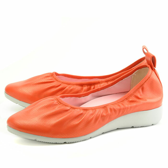 フィットジョイ FITJOY FJ-034 オレンジ スニーカー レディース スリッポン ウォーキングシューズ レザーシューズ シープスキン フラットシューズ 旅行用 靴 くつ クツ スリップオン 紐なし