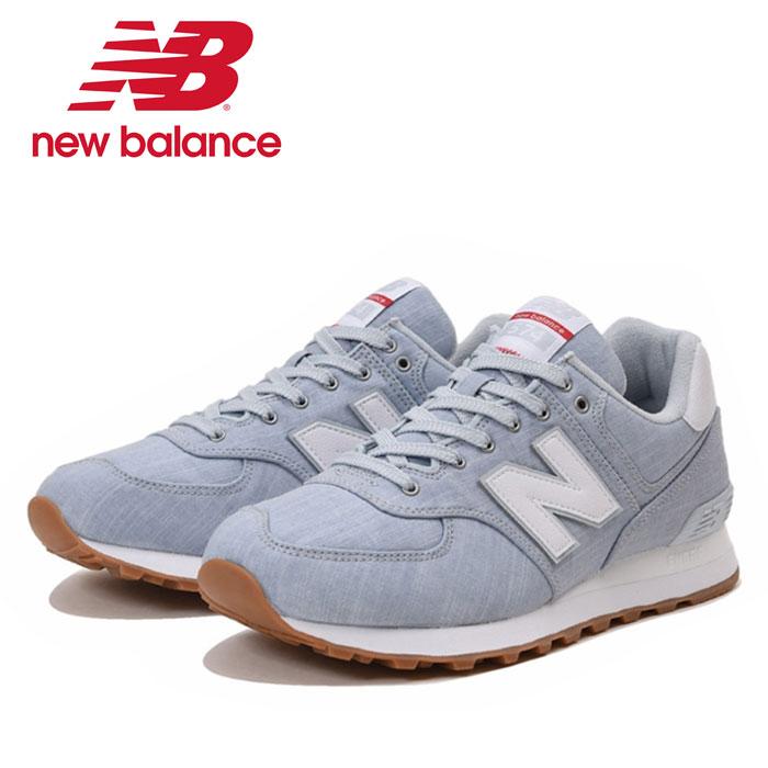 ニューバランス ML574 YLF Dワイズ スニーカー ライトブルー 青 ウォーキングシューズ 靴 ローカット レースアップ レディース メンズ New Balance ユニセックス くつ クツ 紐靴 デニム地
