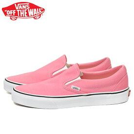 送料無料 バンズ クラシック スリッポン スニーカー メンズ レディース ピンク スケートシューズ 靴 くつ クツ VANS CLASSIC SLIP-ON PINK LEMONADE/TRUE WHITE VN0A33TBUR1