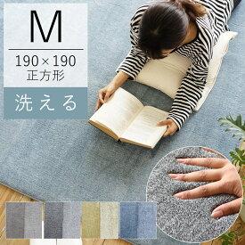 ERARE 洗えるカチオンフランネルラグ フルティ(ER-001) 約190×190cm(Mサイズ/約2畳相当) 正方形 ウォッシャブル 北欧 床暖房 ホットカーペット 春 新生活 赤ちゃん おしゃれ ラグマット カーペット 絨毯 送料無料