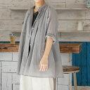 30%オフ セール レディース ロングシャツ 羽織り 七分袖 スタンドカラー 日本製 ネグミシャツ(コットン100%)アップルハウス