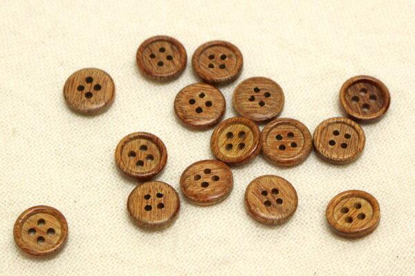 【ネコポス可能/代引き・配達日時指定不可】木ボタン(4穴・10mm・アンティーク調)
