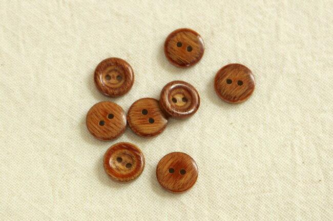 【ネコポス可能/代引き・配達日時指定不可】木ボタン 2穴・13mm・アンティーク調(A:濃色・たらい型)