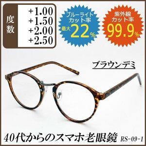 RESA レサ 老眼鏡に見えない 40代からのスマホ老眼鏡 丸メガネタイプ ブラウンデミ RS-09-1 1.5