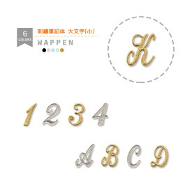 刺繍アルファベットワッペン 筆記体 大文字 (小) 総刺繍 アルファベット 文字 イニシャル 入園 入学 アイロン接着