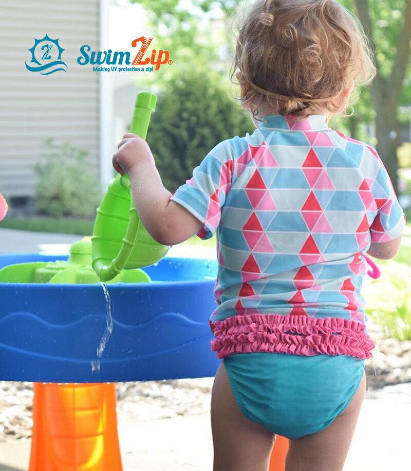 キッズ ラッシュガード スイムジップ SwimZip Pool Party 女の子 半袖 上下セット 子供 水着 ベビー ジップアップ