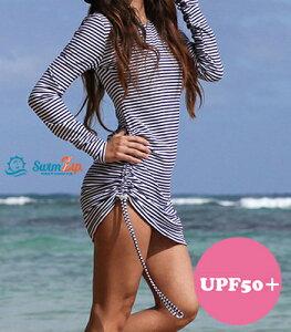スイムジップ SwimZip レディース 長袖 カバーアップ ワンピース Stunner 水着 UVカット UPF50+ 体型カバー