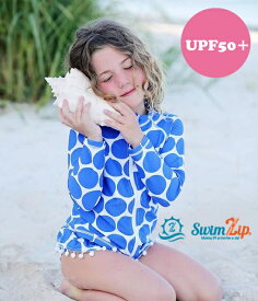 SwimZip ラッシュガード セット キッズ スイムジップ 長袖 女の子 Polka Dot ブルー 上下セット 子供 70 80 90 100 110 120 130 ジップアップ