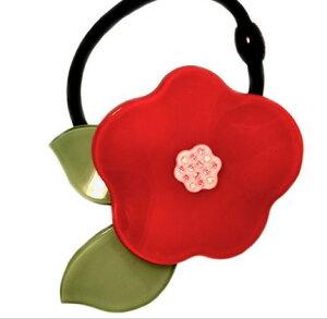 Adelaide New York アデレイドニューヨーク レッドフラワー ヘアゴム 女の子 スワロフスキー ヘアアクセサリー 赤【Poppy Ponytail Red】