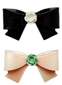 Adelaide New York アデレイド ニューヨーク リボンフラワーヘアクリップ 全2色(ブラック、ピンク) 女の子 キッズ ヘアアクセサリー【Camilie Bow Clip】