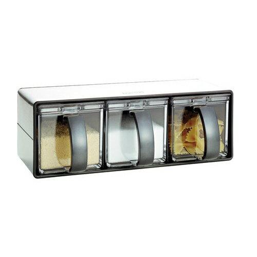 【アスベル】Nフォルマ・ステンレス 3 ブラック【あす楽対応】【台所 キッチン 調味料入れ 調味料入 調味料ラック 砂糖 塩 小麦粉 収納 ポット ラック】